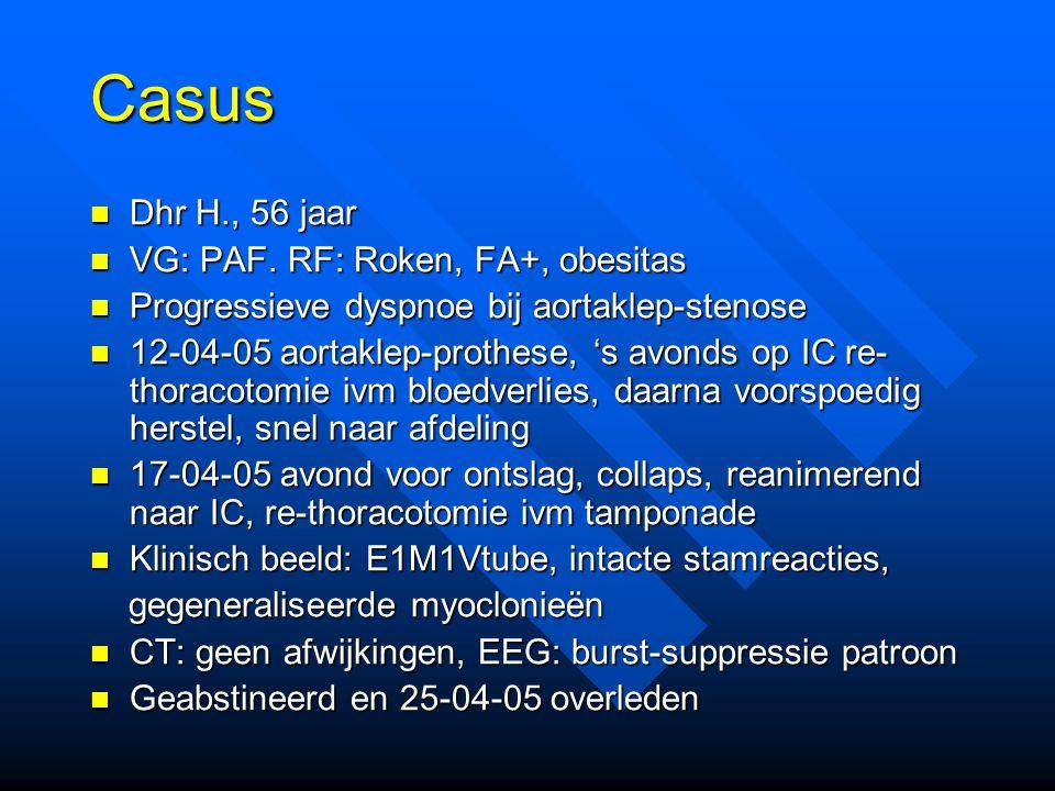 Casus Dhr H., 56 jaar Dhr H., 56 jaar VG: PAF.RF: Roken, FA+, obesitas VG: PAF.