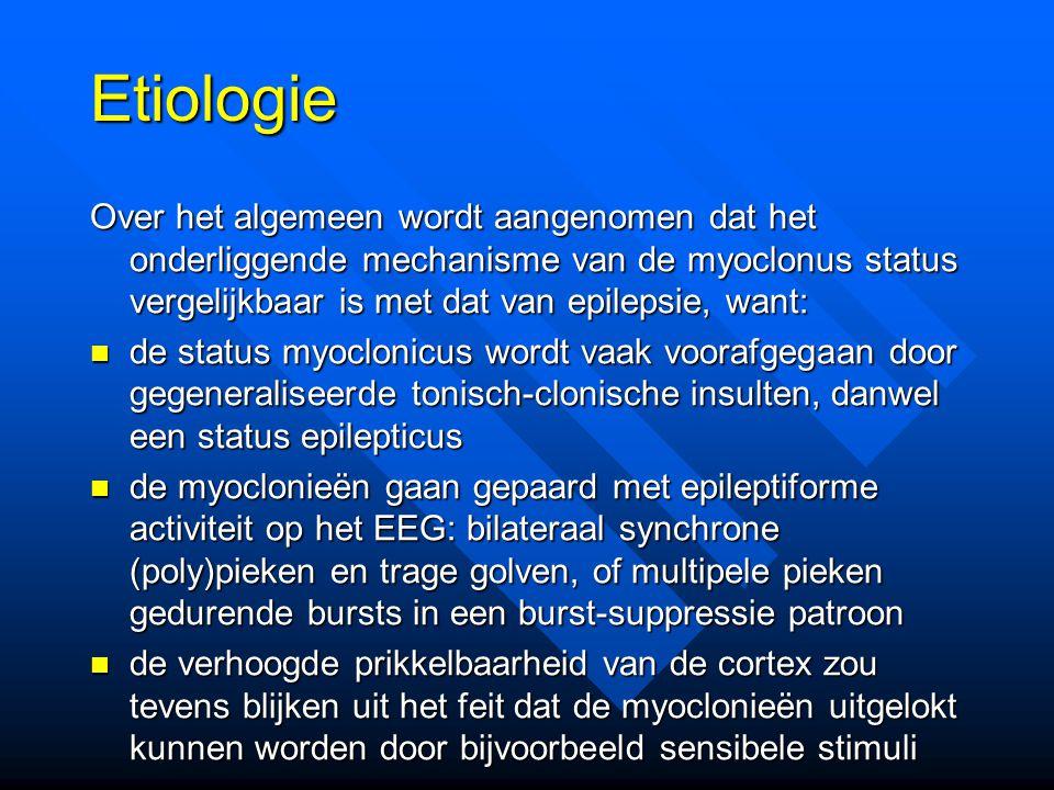 Prognose Wijdicks et al., Ann Neurol 1994 107 patiënten opeenvolgende gereanimeerde patiënten; 40 daarvan hadden een myoclonus status (37%); allen M-score 1 of 2, de meeste intacte stamreacties.