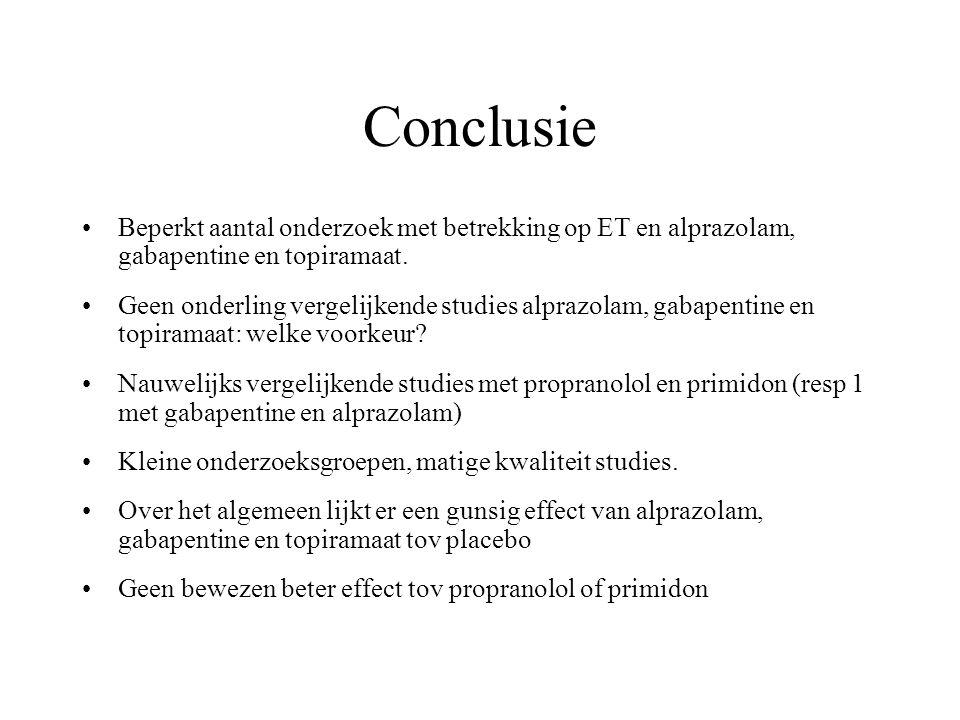 Conclusie Beperkt aantal onderzoek met betrekking op ET en alprazolam, gabapentine en topiramaat. Geen onderling vergelijkende studies alprazolam, gab