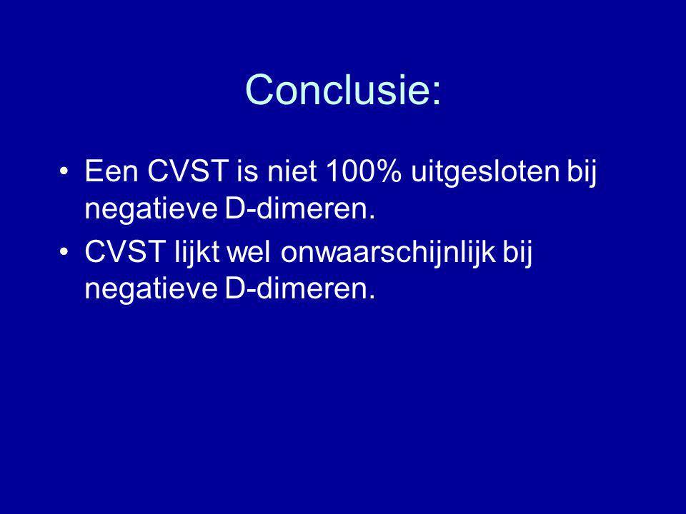 Conclusie: Een CVST is niet 100% uitgesloten bij negatieve D-dimeren. CVST lijkt wel onwaarschijnlijk bij negatieve D-dimeren.