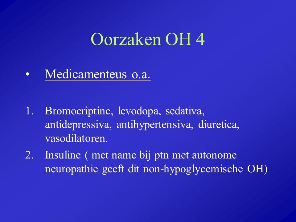 Oorzaken OH 4 Medicamenteus o.a. 1.Bromocriptine, levodopa, sedativa, antidepressiva, antihypertensiva, diuretica, vasodilatoren. 2.Insuline ( met nam