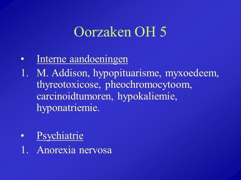 Oorzaken OH 5 Interne aandoeningen 1.M. Addison, hypopituarisme, myxoedeem, thyreotoxicose, pheochromocytoom, carcinoidtumoren, hypokaliemie, hyponatr