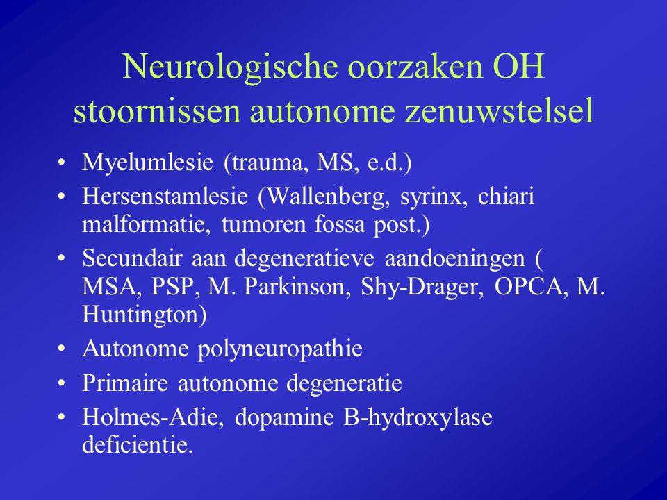 Neurologische oorzaken OH stoornissen autonome zenuwstelsel Myelumlesie (trauma, MS, e.d.) Hersenstamlesie (Wallenberg, syrinx, chiari malformatie, tu