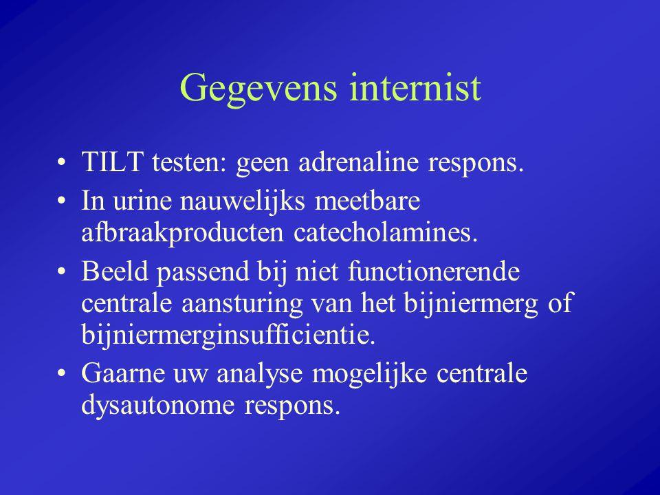 Gegevens internist TILT testen: geen adrenaline respons. In urine nauwelijks meetbare afbraakproducten catecholamines. Beeld passend bij niet function
