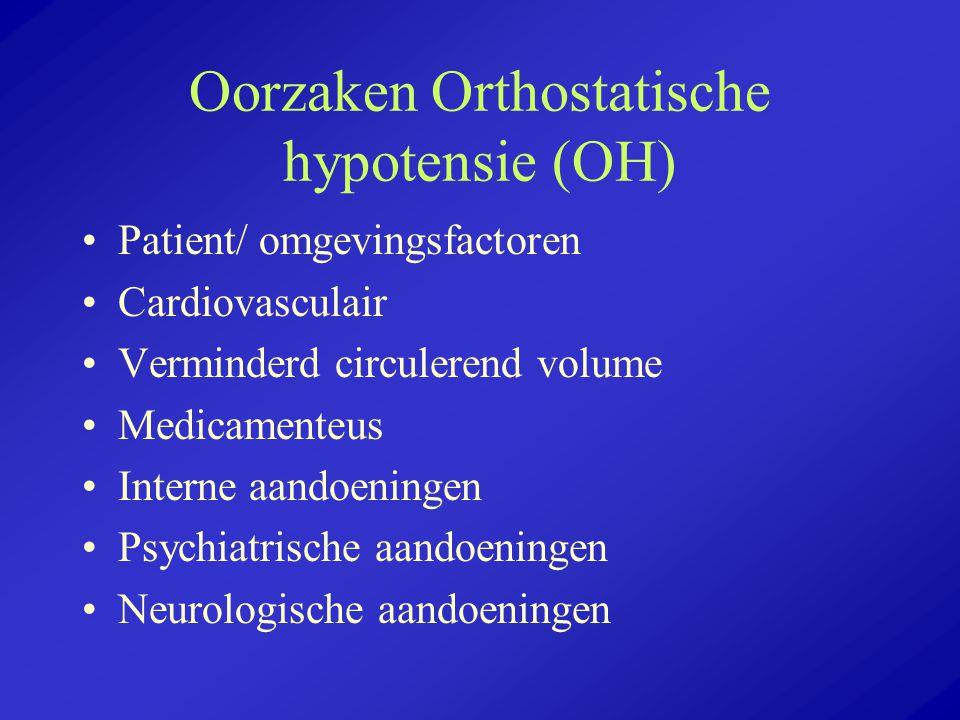 Oorzaken Orthostatische hypotensie (OH) Patient/ omgevingsfactoren Cardiovasculair Verminderd circulerend volume Medicamenteus Interne aandoeningen Ps