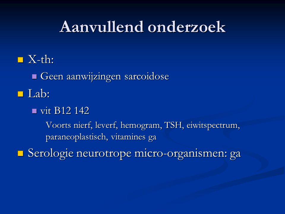 Aanvullend onderzoek X-th: X-th: Geen aanwijzingen sarcoidose Geen aanwijzingen sarcoidose Lab: Lab: vit B12 142 vit B12 142 Voorts nierf, leverf, hem
