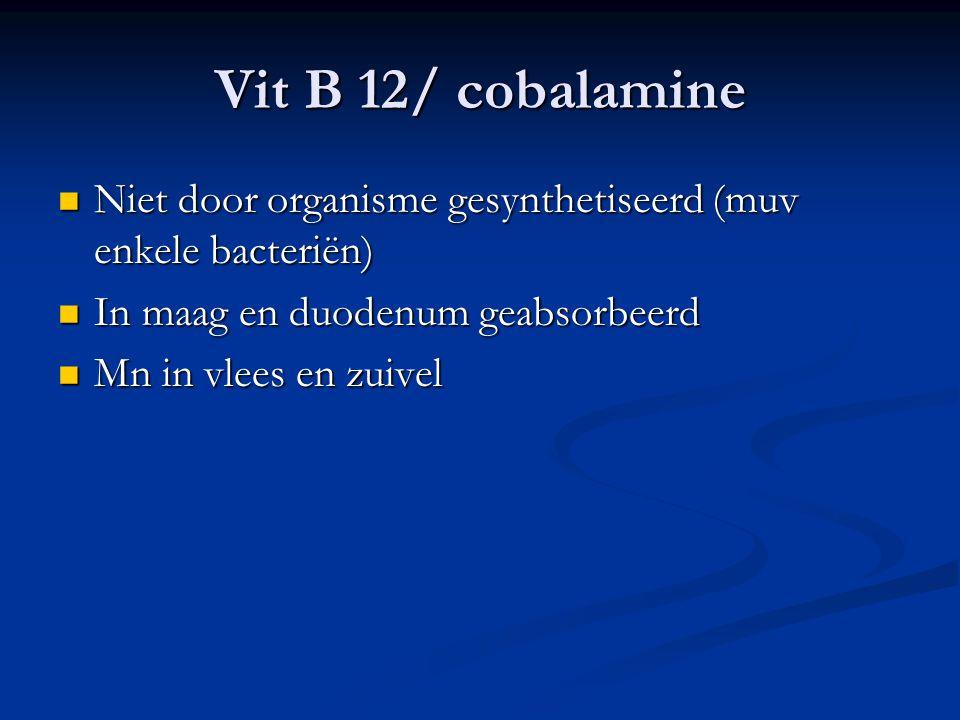 Vit B 12/ cobalamine Niet door organisme gesynthetiseerd (muv enkele bacteriën) Niet door organisme gesynthetiseerd (muv enkele bacteriën) In maag en