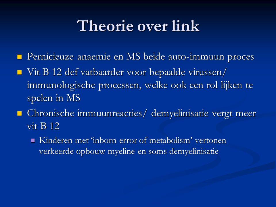 Theorie over link Pernicieuze anaemie en MS beide auto-immuun proces Pernicieuze anaemie en MS beide auto-immuun proces Vit B 12 def vatbaarder voor b