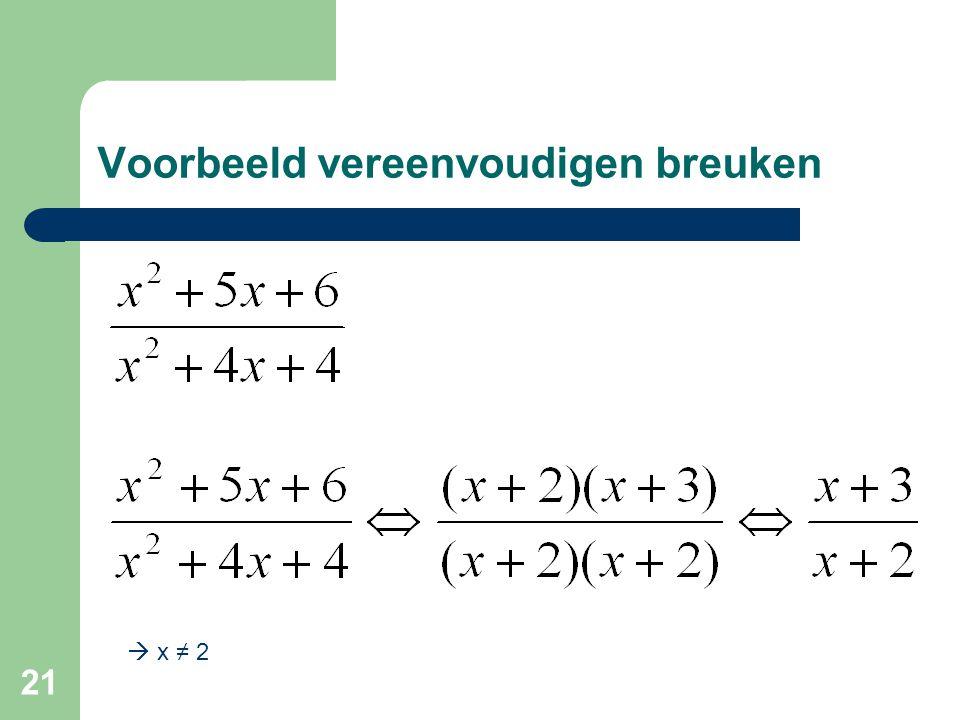 21 Voorbeeld vereenvoudigen breuken  x ≠ 2