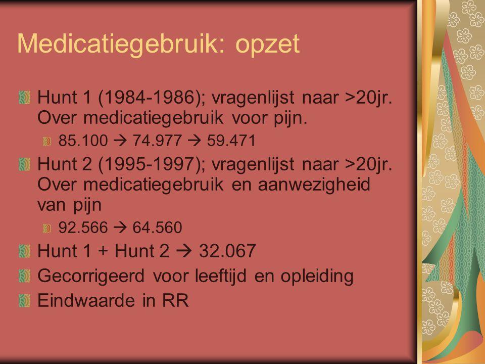 Medicatiegebruik: opzet Hunt 1 (1984-1986); vragenlijst naar >20jr. Over medicatiegebruik voor pijn. 85.100  74.977  59.471 Hunt 2 (1995-1997); vrag