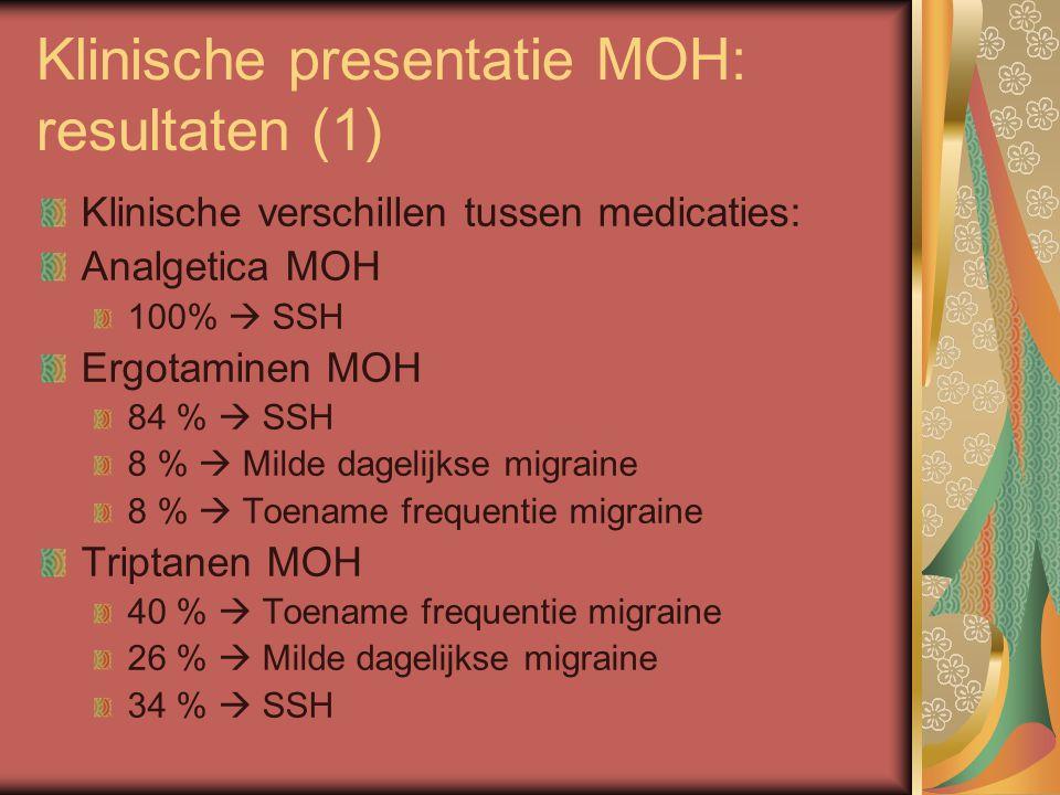 Klinische presentatie MOH: resultaten (1) Klinische verschillen tussen medicaties: Analgetica MOH 100%  SSH Ergotaminen MOH 84 %  SSH 8 %  Milde dagelijkse migraine 8 %  Toename frequentie migraine Triptanen MOH 40 %  Toename frequentie migraine 26 %  Milde dagelijkse migraine 34 %  SSH