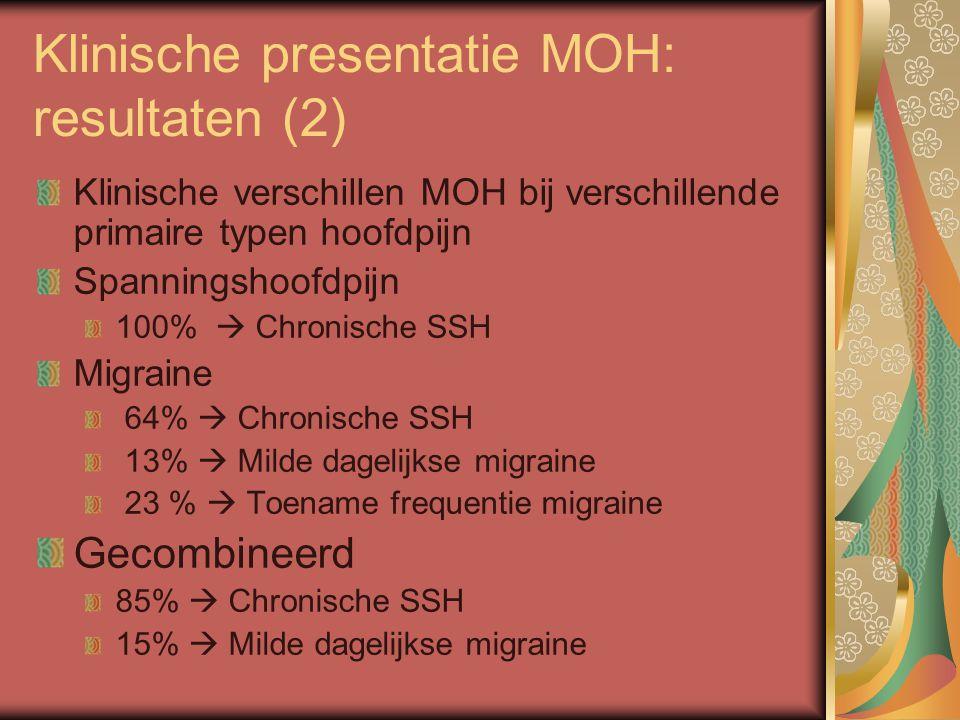 Klinische presentatie MOH: resultaten (2) Klinische verschillen MOH bij verschillende primaire typen hoofdpijn Spanningshoofdpijn 100%  Chronische SSH Migraine 64%  Chronische SSH 13%  Milde dagelijkse migraine 23 %  Toename frequentie migraine Gecombineerd 85%  Chronische SSH 15%  Milde dagelijkse migraine