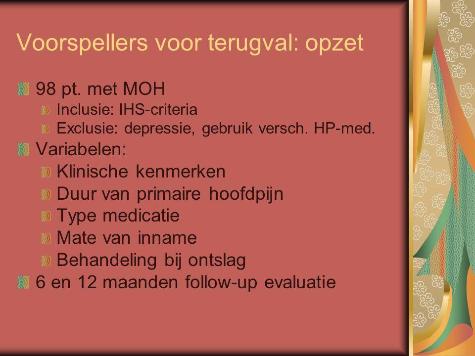 Voorspellers voor terugval: opzet 98 pt. met MOH Inclusie: IHS-criteria Exclusie: depressie, gebruik versch. HP-med. Variabelen: Klinische kenmerken D