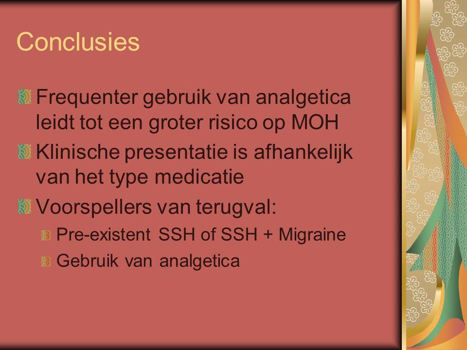 Conclusies Frequenter gebruik van analgetica leidt tot een groter risico op MOH Klinische presentatie is afhankelijk van het type medicatie Voorspellers van terugval: Pre-existent SSH of SSH + Migraine Gebruik van analgetica