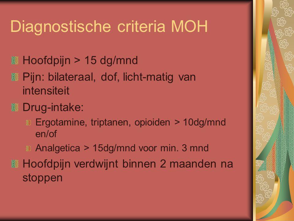 Diagnostische criteria MOH Hoofdpijn > 15 dg/mnd Pijn: bilateraal, dof, licht-matig van intensiteit Drug-intake: Ergotamine, triptanen, opioiden > 10dg/mnd en/of Analgetica > 15dg/mnd voor min.
