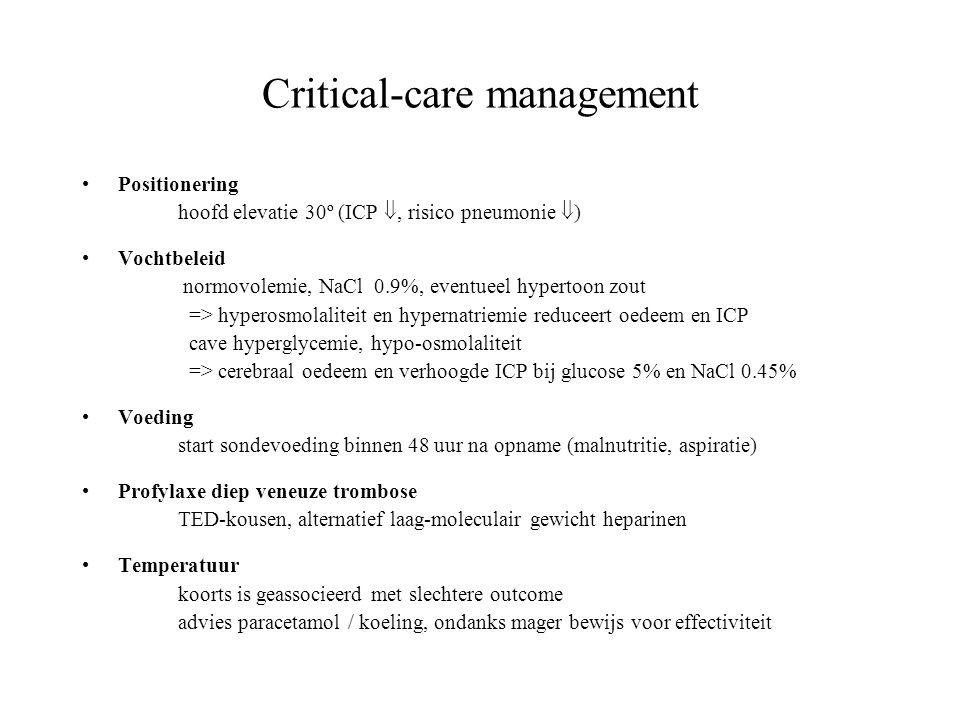 Critical-care management Positionering hoofd elevatie 30º (ICP , risico pneumonie  ) Vochtbeleid normovolemie, NaCl 0.9%, eventueel hypertoon zout =