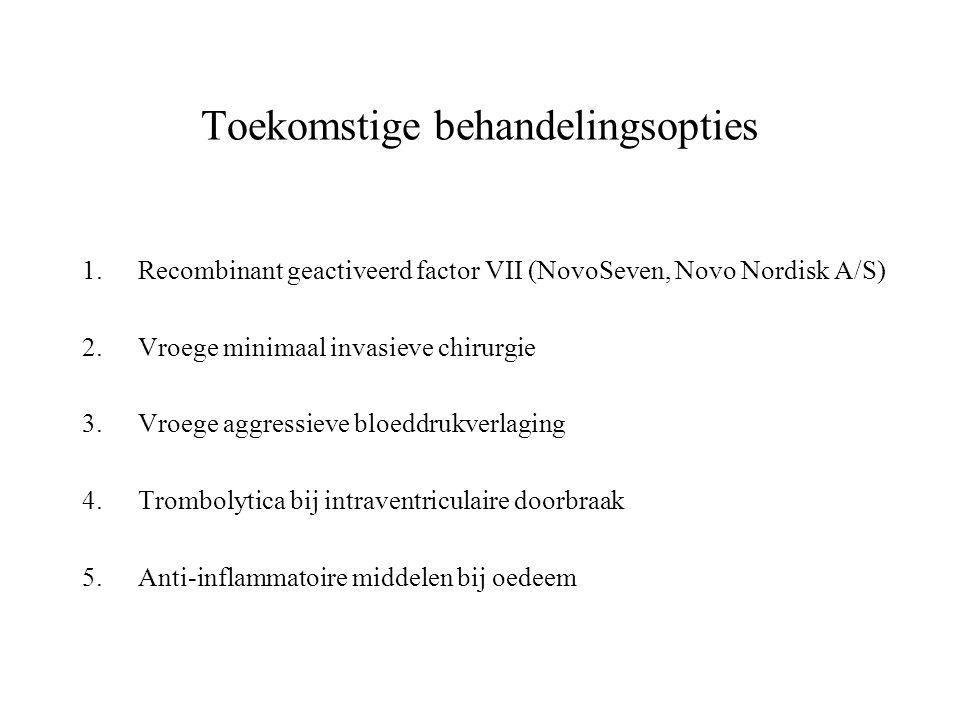 Toekomstige behandelingsopties 1.Recombinant geactiveerd factor VII (NovoSeven, Novo Nordisk A/S) 2.Vroege minimaal invasieve chirurgie 3.Vroege aggre