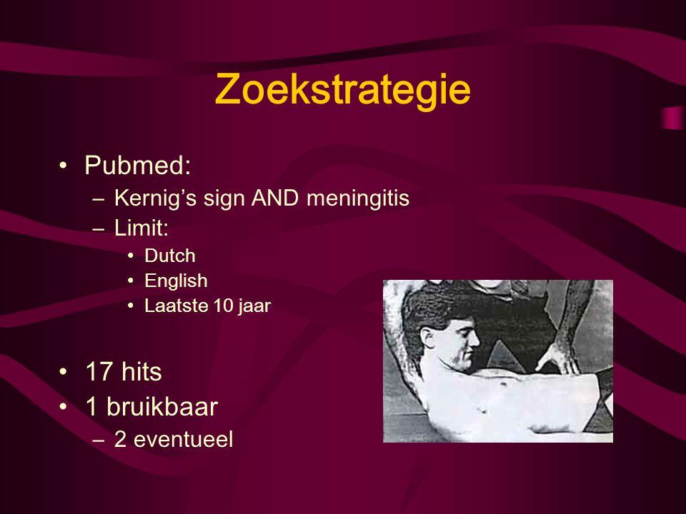 Zoekstrategie Pubmed: –Kernig's sign AND meningitis –Limit: Dutch English Laatste 10 jaar 17 hits 1 bruikbaar –2 eventueel