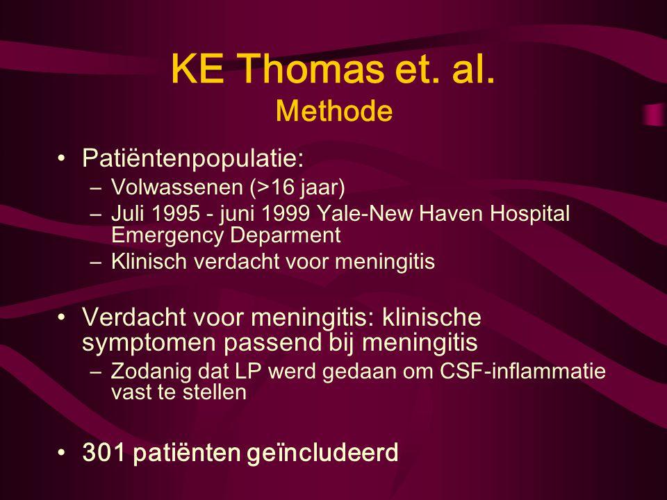 KE Thomas et. al. Doel onderzoek: –Diagnostische waarde teken van Kernig, Brudzinski en nekstijfheid voor meningitis bij volwassenen met verdenking op
