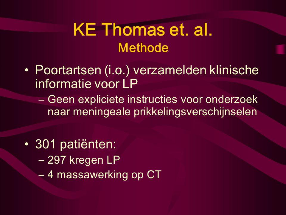 KE Thomas et. al. Methode Patiëntenpopulatie: –Volwassenen (>16 jaar) –Juli 1995 - juni 1999 Yale-New Haven Hospital Emergency Deparment –Klinisch ver