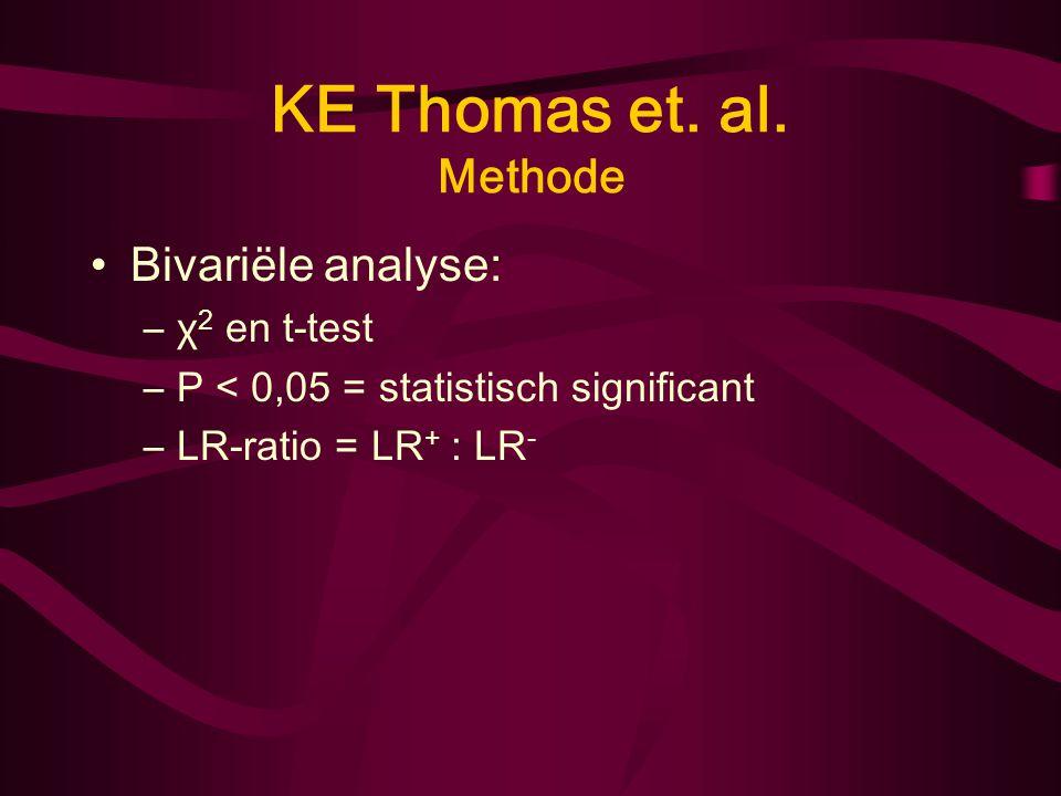 KE Thomas et. al. Methode Liquor: –Gramkleuring –Kweek –WBC –Eiwit –Glucose Evt. op verzoek arts meer bepalingen Meningitis = WBC > 6