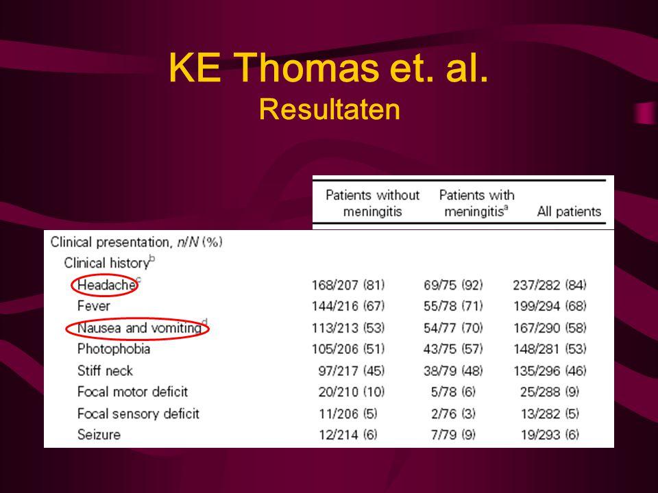 KE Thomas et. al. Methode Bivariële analyse: –χ 2 en t-test –P < 0,05 = statistisch significant –LR-ratio = LR + : LR -