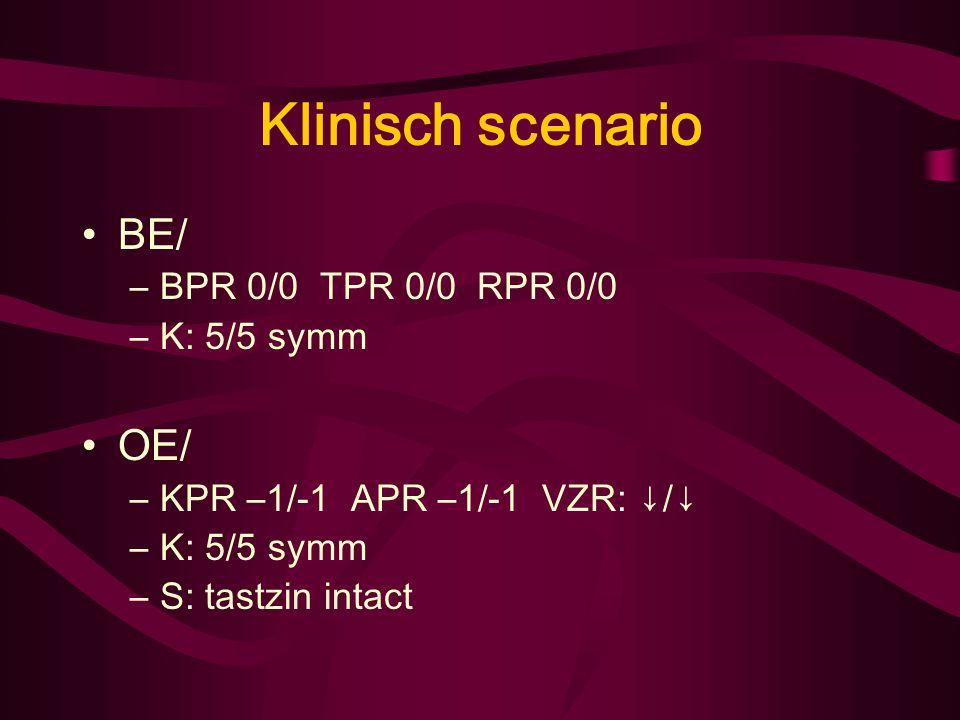 Klinisch scenario A/ Sufheid beter –Weet dat hij in zkh is –Hoofdpijn, nekpijn, pijn: - LO/ Opgewekt NO/ Zeer cachectisch –Nekstijf -, Kernig -, Brudz