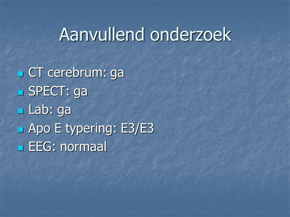 Aanvullend onderzoek CT cerebrum: ga CT cerebrum: ga SPECT: ga SPECT: ga Lab: ga Lab: ga Apo E typering: E3/E3 Apo E typering: E3/E3 EEG: normaal EEG: