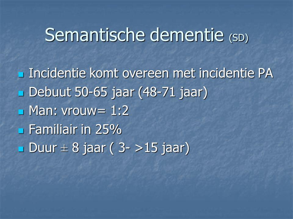 Semantische dementie (SD) Incidentie komt overeen met incidentie PA Incidentie komt overeen met incidentie PA Debuut 50-65 jaar (48-71 jaar) Debuut 50