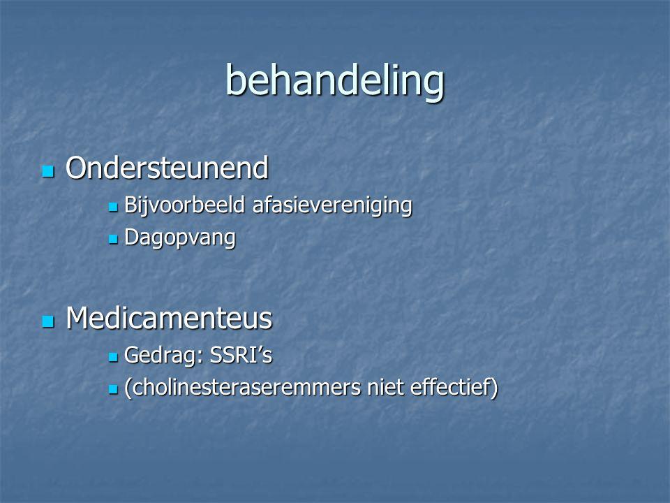 behandeling Ondersteunend Ondersteunend Bijvoorbeeld afasievereniging Bijvoorbeeld afasievereniging Dagopvang Dagopvang Medicamenteus Medicamenteus Ge