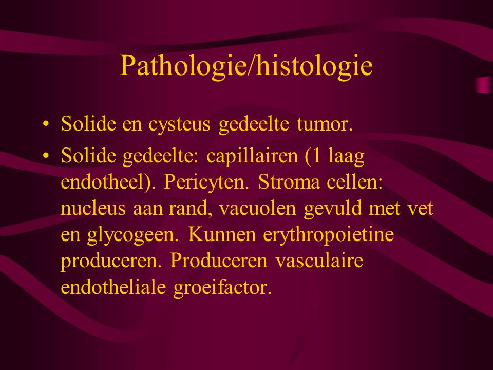 Pathologie/histologie Solide en cysteus gedeelte tumor.
