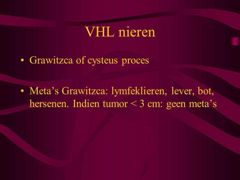 VHL nieren Grawitzca of cysteus proces Meta's Grawitzca: lymfeklieren, lever, bot, hersenen.