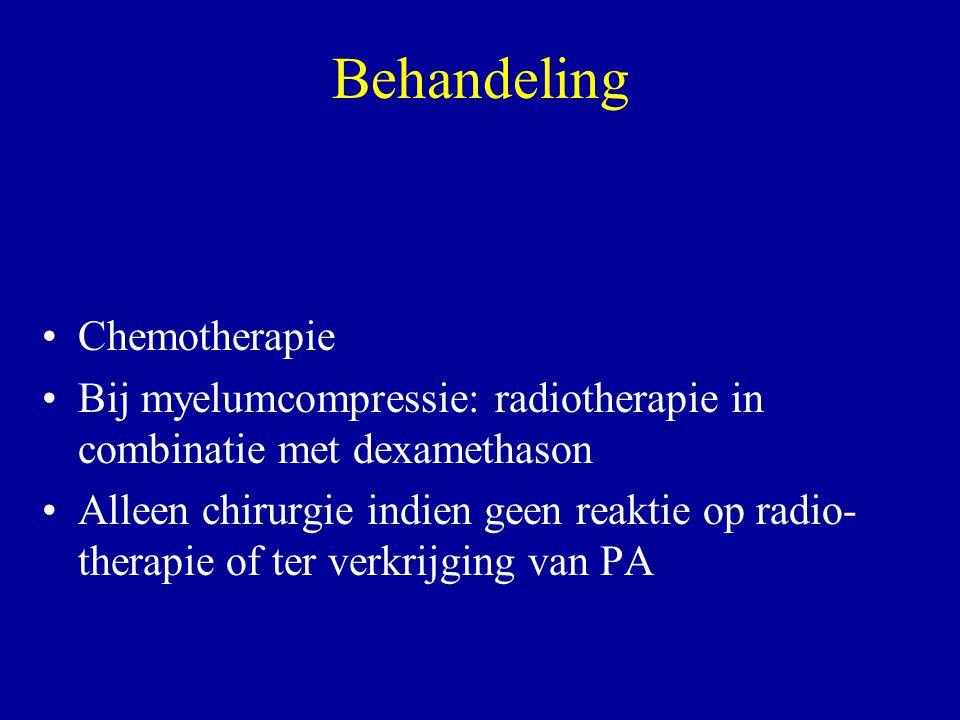 Behandeling Chemotherapie Bij myelumcompressie: radiotherapie in combinatie met dexamethason Alleen chirurgie indien geen reaktie op radio- therapie o