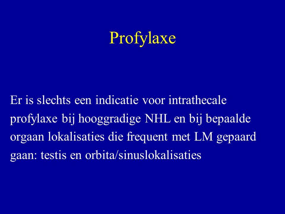 Profylaxe Er is slechts een indicatie voor intrathecale profylaxe bij hooggradige NHL en bij bepaalde orgaan lokalisaties die frequent met LM gepaard