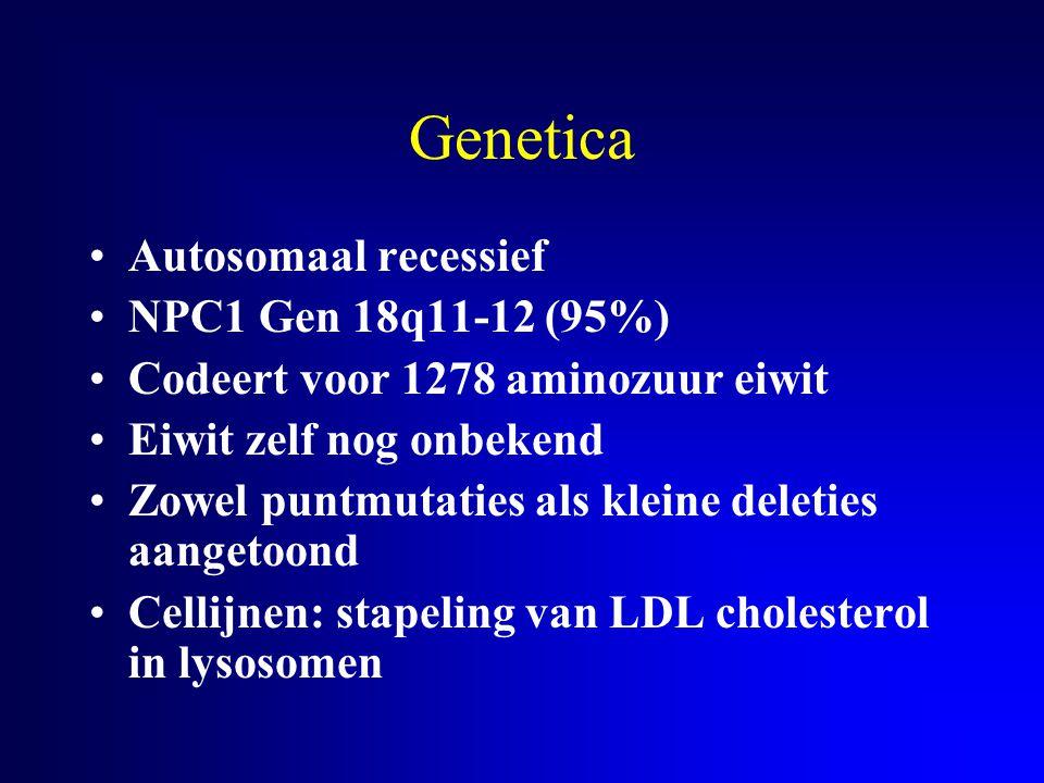 Genetica Autosomaal recessief NPC1 Gen 18q11-12 (95%) Codeert voor 1278 aminozuur eiwit Eiwit zelf nog onbekend Zowel puntmutaties als kleine deleties
