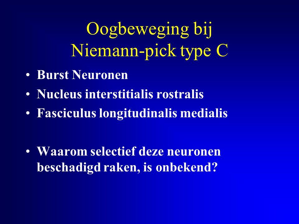 Oogbeweging bij Niemann-pick type C Burst Neuronen Nucleus interstitialis rostralis Fasciculus longitudinalis medialis Waarom selectief deze neuronen