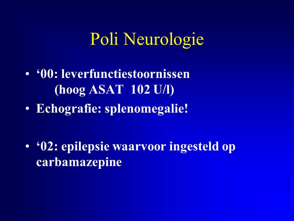 Niemann-Pick type C eerste symptomen 3-8 jaar verlengde neonatale hyperbilirubinemie Ontwikkeling initieel normaal of licht vertraagd ataxie op voorgrond, soms dystonie verticale (supranucleaire) oftalmoplegie epilepsie (30%) mentale regressie katatonie splenomegalie overlijden 2e decade tgv aspiratie