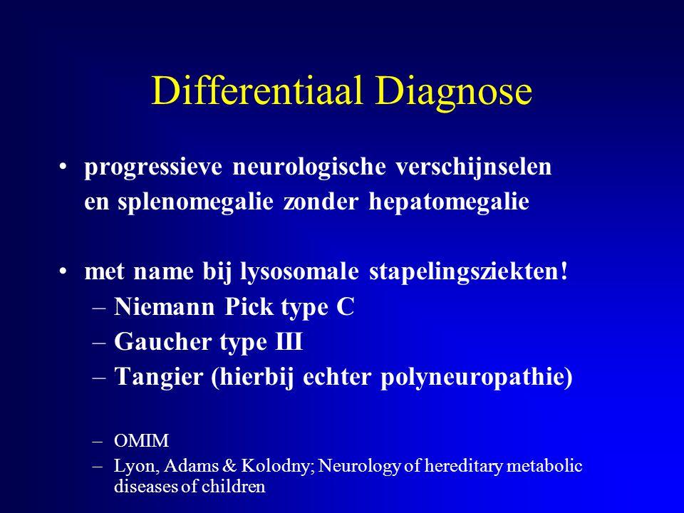 Differentiaal Diagnose progressieve neurologische verschijnselen en splenomegalie zonder hepatomegalie met name bij lysosomale stapelingsziekten! –Nie