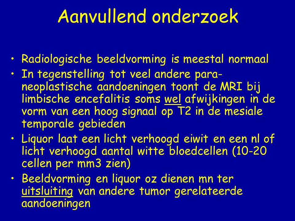 Behandeling en Prognose Paraneoplastische aandoeningen van het CZS reageren meestal niet op behandeling Paraneoplastische aandoeningen van het PZS zijn vaak goed te behandelen Men neemt aan dat een zeer vroege behandeling van de tumor mogelijk leidt tot een iets betere prognose