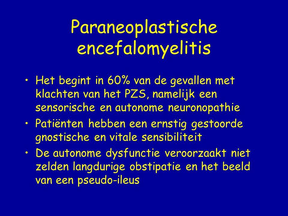 Paraneoplastische limbische encefalitis 50% van de pt verwardheid en geheugen- problemen 25% presenteerde zich met psychiatrische veranderingen of epileptische insulten.