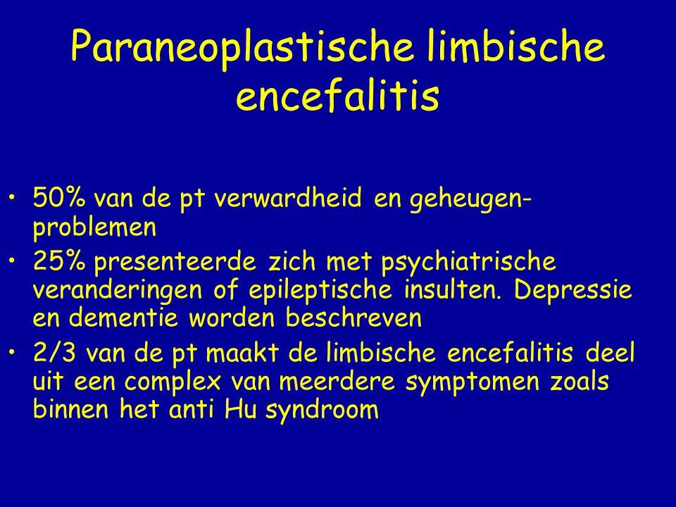 Pathogenese (1) Onbekend Men veronderstelt dat de tumor de pt immuniseert door een hoge expressie van het ziekte-specifiek eiwit