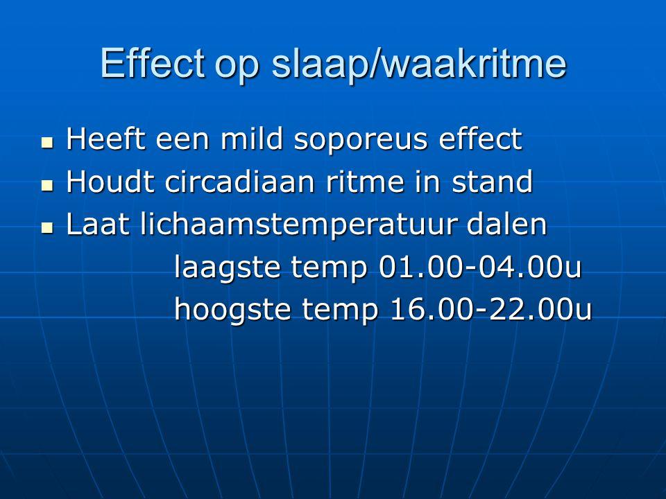 Effect op slaap/waakritme Heeft een mild soporeus effect Heeft een mild soporeus effect Houdt circadiaan ritme in stand Houdt circadiaan ritme in stan