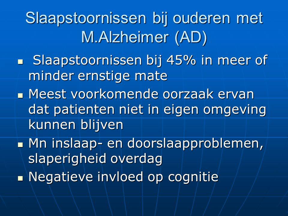 Slaapstoornissen bij ouderen met M.Alzheimer (AD) Slaapstoornissen bij 45% in meer of minder ernstige mate Slaapstoornissen bij 45% in meer of minder ernstige mate Meest voorkomende oorzaak ervan dat patienten niet in eigen omgeving kunnen blijven Meest voorkomende oorzaak ervan dat patienten niet in eigen omgeving kunnen blijven Mn inslaap- en doorslaapproblemen, slaperigheid overdag Mn inslaap- en doorslaapproblemen, slaperigheid overdag Negatieve invloed op cognitie Negatieve invloed op cognitie