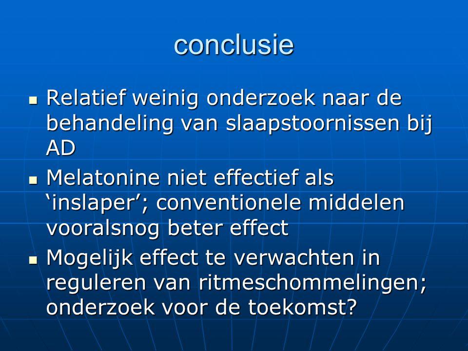 conclusie Relatief weinig onderzoek naar de behandeling van slaapstoornissen bij AD Relatief weinig onderzoek naar de behandeling van slaapstoornissen