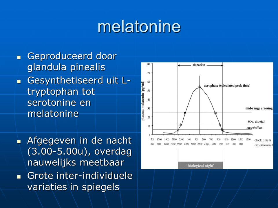 Melatonine en leeftijd Aanwijzingen dat melatoninesecretie afneemt Aanwijzingen dat melatoninesecretie afneemt Ritme begint bij leeftijd 4 mnd Ritme begint bij leeftijd 4 mnd Piek tussen 4 en 7 jaar Piek tussen 4 en 7 jaar Mn in puberteit forse daling Mn in puberteit forse daling