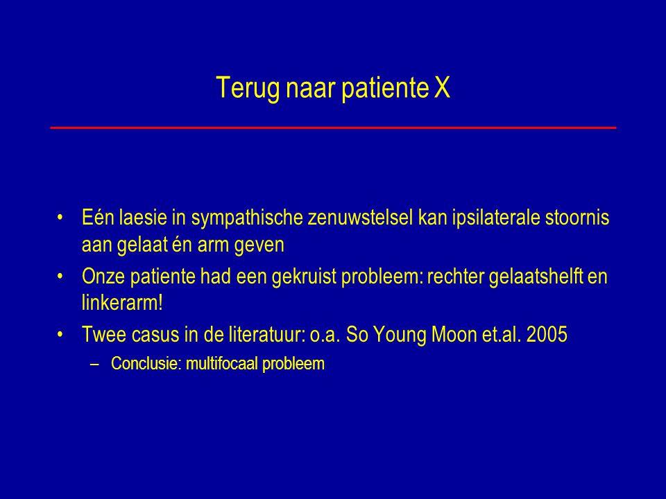 Terug naar patiente X Eén laesie in sympathische zenuwstelsel kan ipsilaterale stoornis aan gelaat én arm geven Onze patiente had een gekruist problee