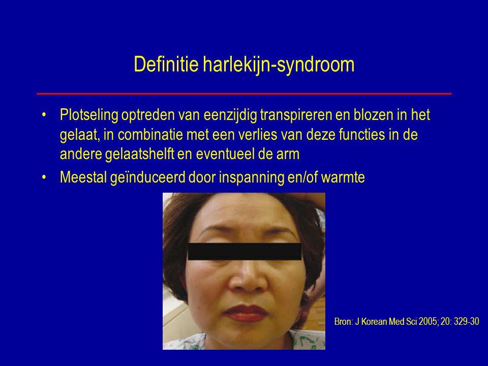 Definitie harlekijn-syndroom Plotseling optreden van eenzijdig transpireren en blozen in het gelaat, in combinatie met een verlies van deze functies i