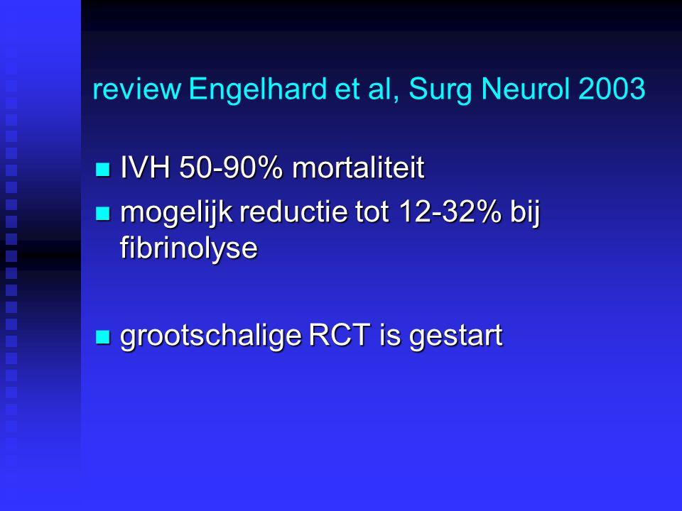review Engelhard et al, Surg Neurol 2003 IVH 50-90% mortaliteit IVH 50-90% mortaliteit mogelijk reductie tot 12-32% bij fibrinolyse mogelijk reductie tot 12-32% bij fibrinolyse grootschalige RCT is gestart grootschalige RCT is gestart