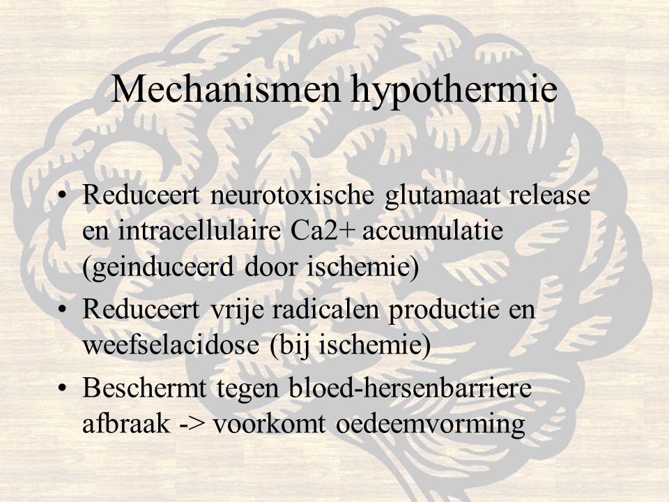Mechanismen hypothermie Reduceert neurotoxische glutamaat release en intracellulaire Ca2+ accumulatie (geinduceerd door ischemie) Reduceert vrije radi
