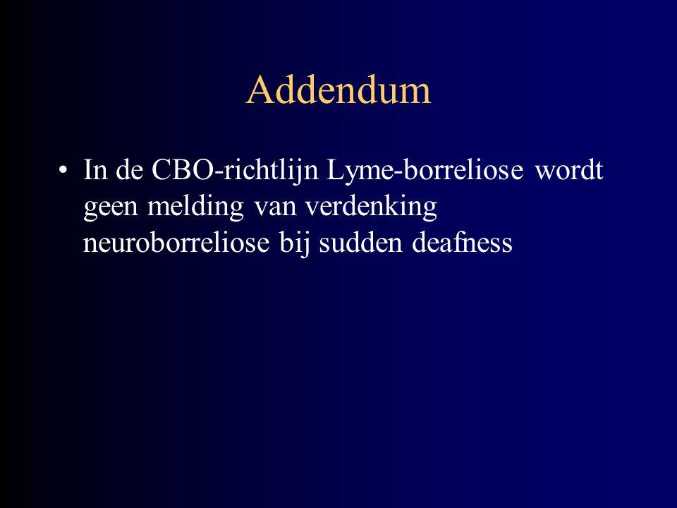 Addendum In de CBO-richtlijn Lyme-borreliose wordt geen melding van verdenking neuroborreliose bij sudden deafness